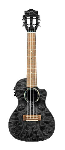Lanikai Quilted Maple Black Stain Concert Acoustic-Electric Ukulele