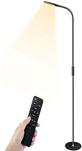 Lámpara de Pie LED Henzin,9W Control Remoto y Control Táctil,5 Colores y 5 Brillos Diferentes con Control Remoto,Lámpara LED Cuidado de Ojos,Lámpara de Pie Modernas,para Salón,Dormitorio,Oficina,Negro