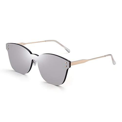 JIM HALO Una Pieza Sin Marco Montura Gafas de Sol Mujer Lente Transprente Caramelo Color Teñido Plateado Espejo