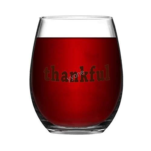 YY-one Copa de vino grabada personalizada sin tallo, 445 ml – Copa de vino agradecida, copas de vino, bodas, fiestas, cumpleaños, regalos para papá, hombres, amigos, padres