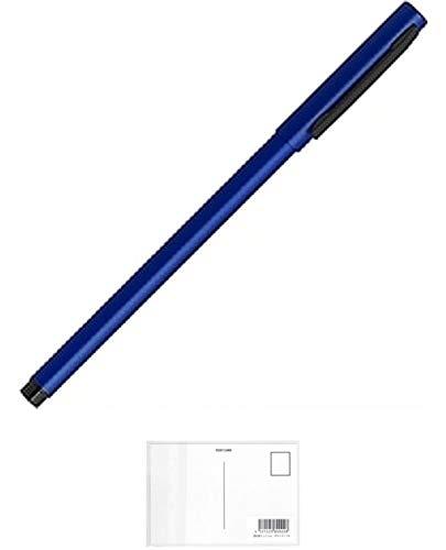 ゼブラ エマルジョンボールペン フォルティアem インク色:黒 軸色:青 BA98-BL (× 5 本) + 画材屋ドットコム ポストカードA