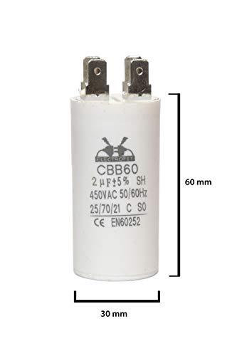 ELECTROFIT CBB60 2 uF 450V bedrijfscondensator motor start condensator voor airconditioning, compressoren en elektromotoren