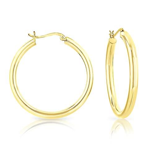 DTPsilver - Damen - Creolen - Ohrringe 925 Sterling Silber Gelb Vergoldet- Dicke 4 mm - Durchmesser 40 mm