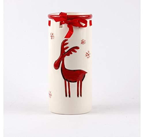 Les Authentics Pot Vase CERF Blanc Rouge 22 CM