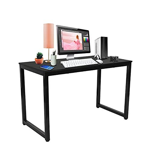 Halter 47 Inch Modern Computer Desk Gaming Table Home Office Desk Desktop Computer Desk Study and Writing Desk Small Office Table Bedroom Corner Desk Black Desk Black Frame 1 Pack