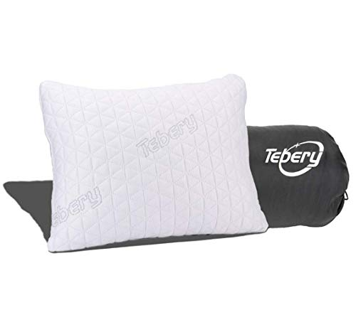 "Tebery Shredded Memory Foam Travel Pillow with Bamboo Derived Viscose Rayon Cover Adjustable Compressible Camping Pillow with Stuff Sack Great for Backpacking, Airplane or Car Travel - 14"" x 19"""