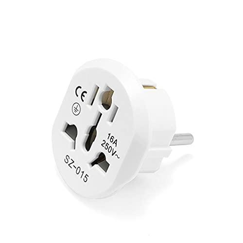 General UE Plug Converter Adaptador de la UE 2 Pin Round Socket AU EEUU Reino Unido CN A Toma de Pared EU CA 16A Adaptador de Viaje de 250V, Liqingshangmao (Color : 9PCS White)