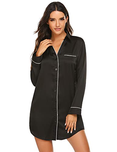 Ekouaer Button Down Sleepshirt Satin Sleepwear Silk Nightshirt Long Sleeve Pajama Top for Women Black