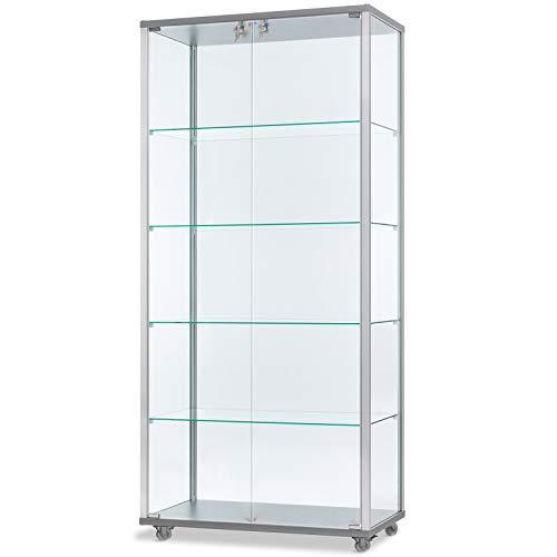 MHN breite verschließbare Glasvitrine mit LED-Beleuchtung 80 x 40 cm mit Spiegelrückwand/auf Rollen