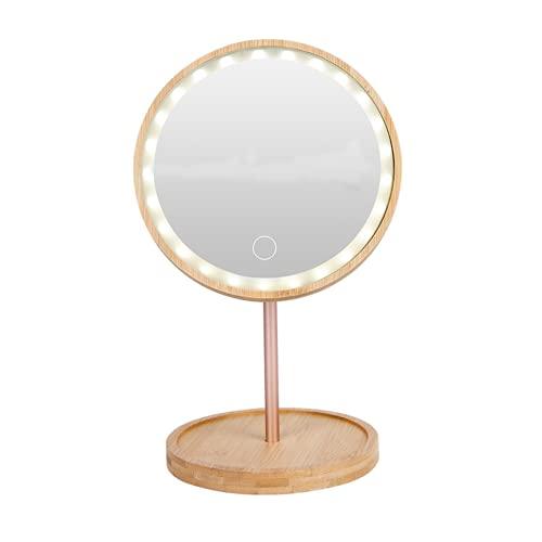 Espejo de Maquillaje Escritorio LED Pantalla Táctil Giratorio Bambú y Vidrio Brillo Ajustable 1200mA Recargable para Casa