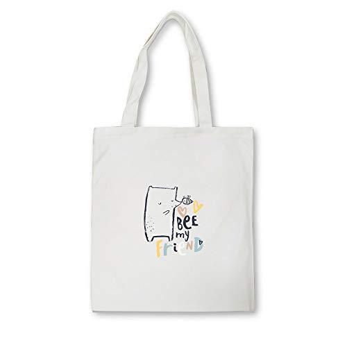 NSWMDSTD Bolsa De Lona Impresa,Impresión De Dibujos Animados Blanca Casual Bolso Shopping Cremallera Blanca Unisex De Viaje Moda Bolsas De Tela Kawaii Harajuku Bolso Plegable