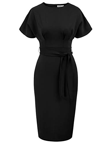 JASAMBAC Womens Plus Size Bodycon Pencil Dress Knee Length Business Casual Office Work Dress Black XXL