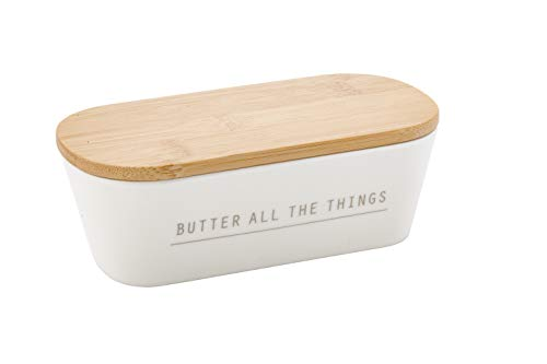 Tablecraft Butter Dish with Lid, 7.75 x 3.25 x 2.5, Melamine
