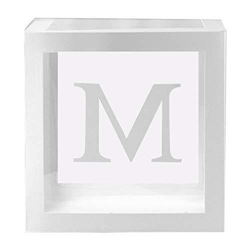 ECOSWAY 1Pc Transparente Cuadrado Caja de Cartón Globo Caja para Baby Shower Bautizo Cumpleaños Decoración Fiesta - M