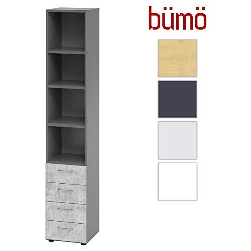 Bümö® Smart schuifladenkast van hout met 4 laden voor kleine onderdelen & materiaal | kantoorkast klein & smal 4 Schubladen + 4 Regalfächer Grafiet-beton