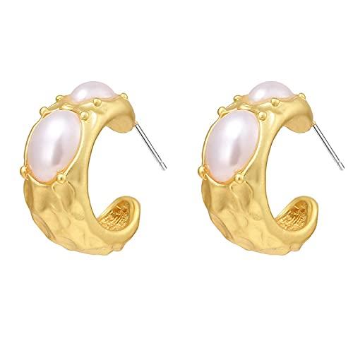 FEARRIN Pendientes Vintage con Tachuelas de Diamantes de imitación de Metal Dorado con Perlas geométricas Pendientes para Mujer niña joyería Regalo de Boda H182-ME759