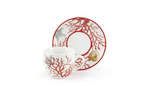 Excelsa Coral Juego de 6 tazas de café con platillo, Porcelana, multicolor