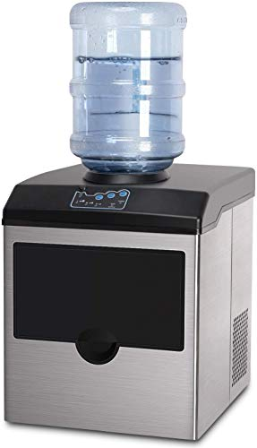 2 in 1 Ice Maker Machine With Water Dispenser, Stainless Steel Ice Cube Makers Products 40lbs Daily-Ice Cubes ready in 8 Minutes, Electric Ice Making Machine with Ice Scoop