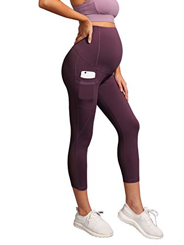 Women's Maternity Over The Belly Mesh Yoga Leggings with Side Pockets