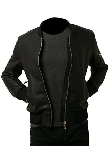 Chaqueta de cuero auténtico para hombre estilo bombardero negro Slimfit Varsity suave casual cremallera - negro - Small