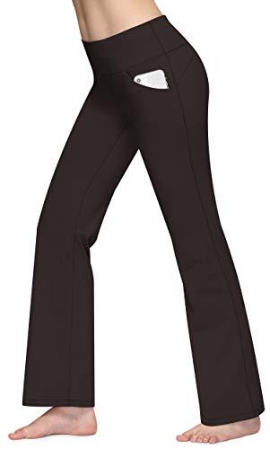 CUGOAO Bootcut Yoga Pants with Pockets, High Waist Bootleg Pants, Workout Pants for Women Coffee