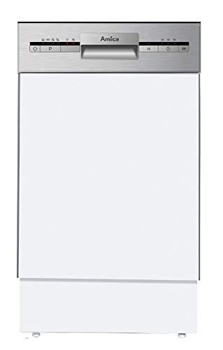 Amica EGSP 14695 E Geschirrspüler, teilintegriert, 9 Maßgedecke, A+ (teilintegriert, weiß, kompakt (45 cm), Knöpfe, drehbar, kalt, 9 Plätze)