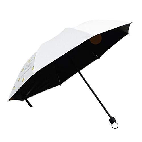 MAWA Paraguas tríptico de Dibujos Animados creativos Paraguas de Lluvia con protección Solar Simple a la Moda - Blanco, a7