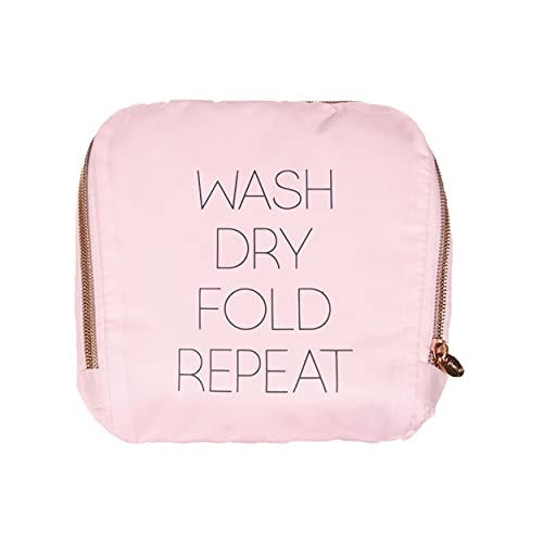 Miamica Travel Laundry Bag, Wash, Dry, Fold, Repeat, Pink, One Size