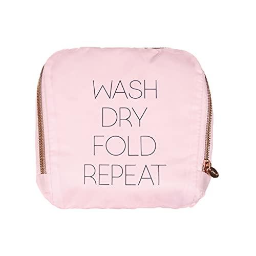 Miamica Bolsa de lavandería de viaje, lavar, secar, plegar, repetir, Bolsa de lavandería de viaje, lavar, secar, plegar, repetir, Rosado, Una talla