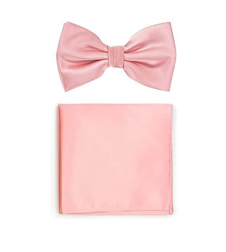 Puccini Uni Fliegen Set mit Einstecktuch, einfarbiges Set mit Herrenfliege (Fliege, Bow Tie) und Einstecktuch für Hochzeit & festliche Anlässe (Rosa)