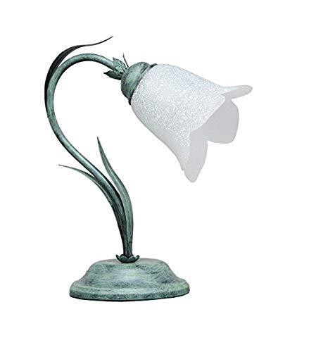 VALFB23131 Nero/Verde Made in Italy Illuminazione per interni Lampada da Tavolo comodino in ferro battuto prodotto in Italia da Valastro Lighting