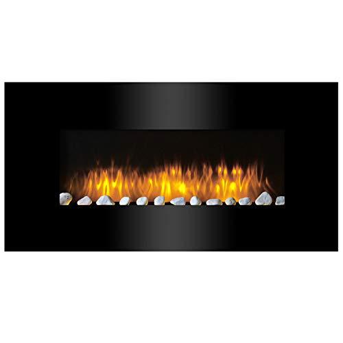 Moderner LED Wandkamin Elektrokamin / LED Feuereffekt - dimmbar / Heizleistung 2-Stufig einstellbar - max 2000W / Fernbedienung / Schwarze Glasfront mit ca. 105,5cm Diagonale / Kaminofen Heizofen Radiator Heizlüfter