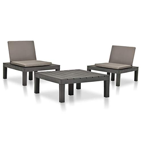 vidaXL - Muebles de jardín de 3 piezas Juego de mesa y sillas de plástico antracita