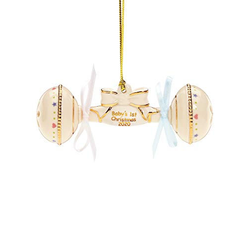 Lenox 2020 Baby's First Christmas Rattle Ornament, 0.25 LB, Ivory