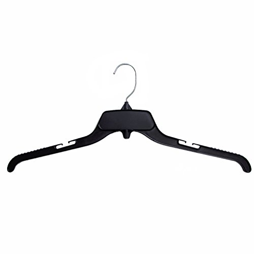 Hanger Central Recycled Black Heavy Duty Plastic Shirt Hangers with Polished Metal Swivel Hooks 17 Inch 200 Set