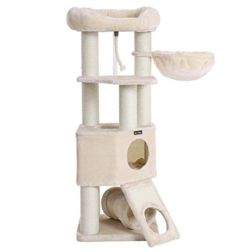 FEANDREA Cat Tree, Large Cat Tower with Fluffy Plush Perch, Cat Condo with Basket Lounger and Cuddle Cave, Extra Thick Posts Completely Wrapped in White Sisal, Beige UPCT02M