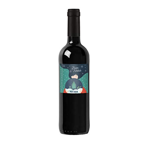 Bottiglia di vino rosso personalizzata IGT Toscana Rosso - Idea regalo esclusiva e originale per Natale! (Disegno ragazza)