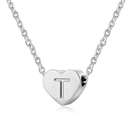 AFSTALR Letter Initial Necklace Girls Women Silver Personalized Tiny Initial Alphabet Love Choker Necklace Gifts, Silver Letter T Necklace