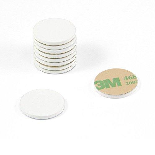 Magnet Expert Scheibe aus Baustahl, 20 mm Durchmesser x 2 mm dick, selbstklebend, 3M, Weiß, 10 Stück