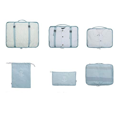 Hanone Travel Organizers Packing Bags Travel Packing Cubes Set Luggage Organizers Gray Blue