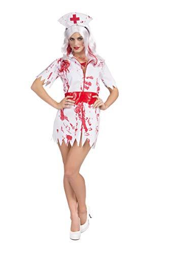 YT Electric Halloween Kostüm Damen Blutig Verkleidung Cosplay Zombie Krankenschwester Nurse Outfit Horror Weiß