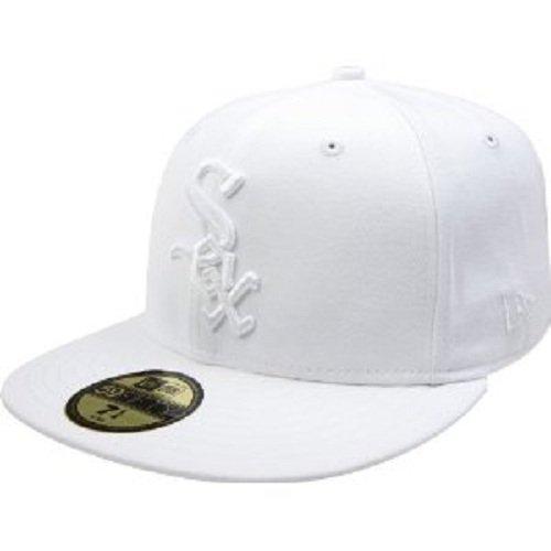 New Era MLB Chicago White Sox Weiß auf Weiß 59Fifty Fitted Cap, Herren, Chicago White Sox