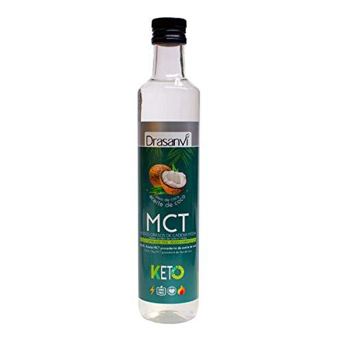 100% MCT Coconut Oil 500ml Keto Drasanvi, Caprilic Acid (70%) and Capric Acid (30%), BPA-Free Plastic Bottle, Gluten Free, No GMO, Vegan Friendly 500 ml