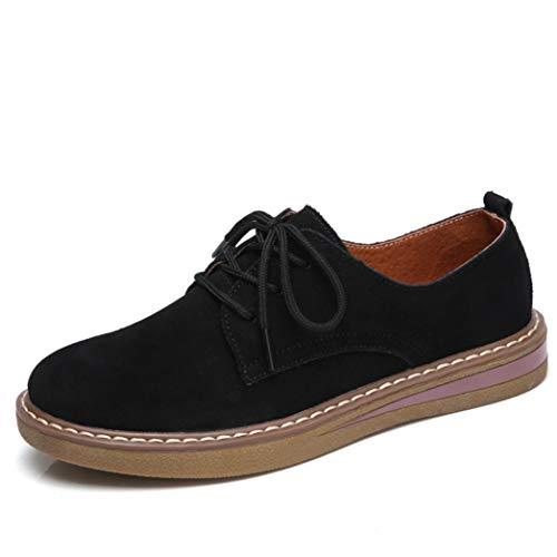 Zapatos Planos De Mujer Zapatillas De Deporte Mocasines Zapatos Oxford Zapatos De Cuero con Cordones De Gamuza Zapatos Cómodos para Caminar Cómodos para Damas