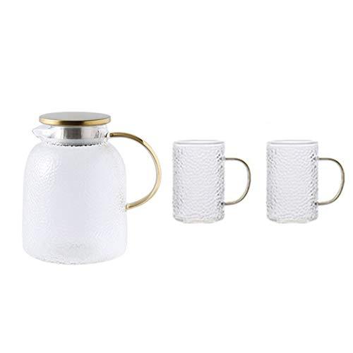 QAX Jarra de cristal con tapa y boquilla, jarra de agua de vidrio con asa, para nevera familiar, hervidor de 1,8 l + 2 tazas