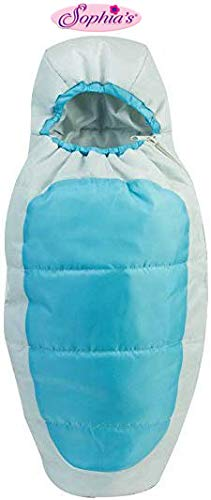 Sophia's 18 Inch Doll Sleeping Bag in Aqua Blue & Silver, Fits 18 Inch American Girl Dolls & More! Doll Camping Sleepover Bag in Aqua & Silver