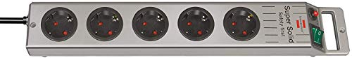 Brennenstuhl Super-Solid, Steckdosenleiste 5-fach (2,5m Kabel und Schalter - aus bruchfestem Polycarbonat) schwarz/silber