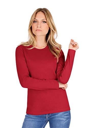 Trigema Damen Langarmshirt 502501, Gr. 44 (Herstellergröße: L), Rot (kirsch 036)
