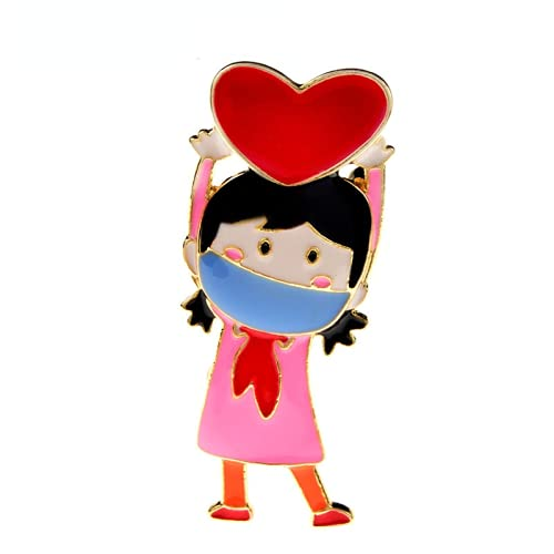 JIANCHEN Enamel Student Girl Brooches for Women Kids Alloy Figure Wear A Mask Office Casual Brooch Pins Good Gift