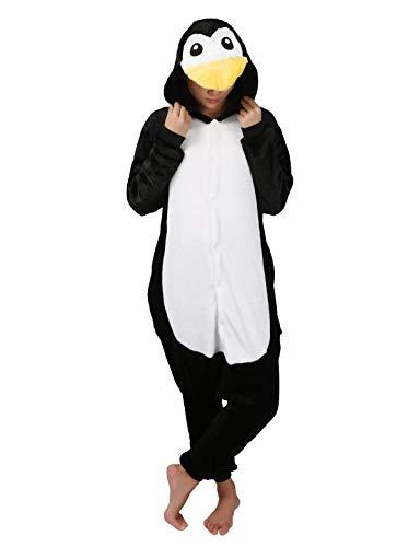 Jumpsuit Tier Karton Fasching Halloween Einhorn Kostüm Sleepsuit Cosplay Fleece-Overall Pyjama Schlafanzug Erwachsene Unisex, Pinguin, S(Höhe:145-154CM)